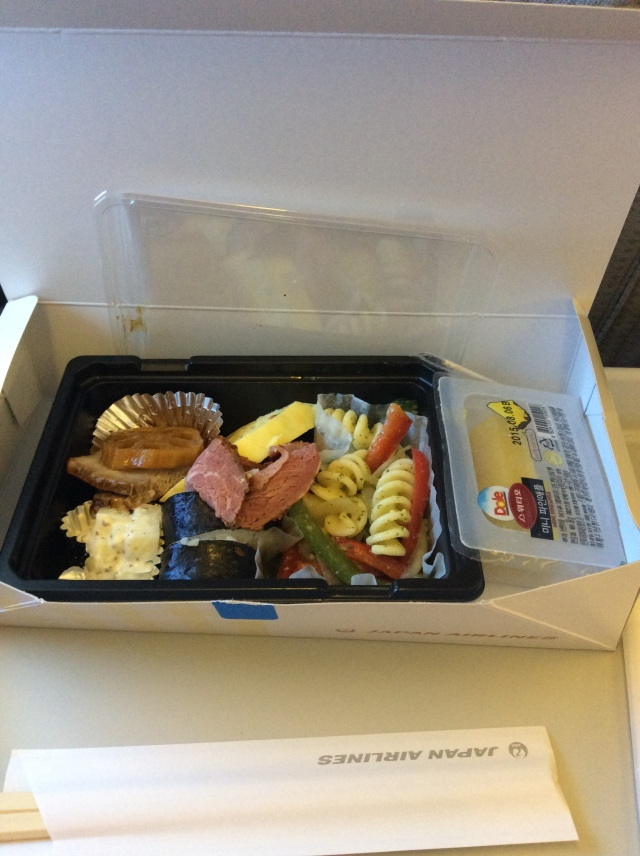 go Japan Airlines, the food was actually good, and we got all that food on a short 2 hour flight