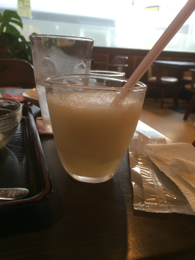 free peach juice from the wonderful owner at the curry restaurant