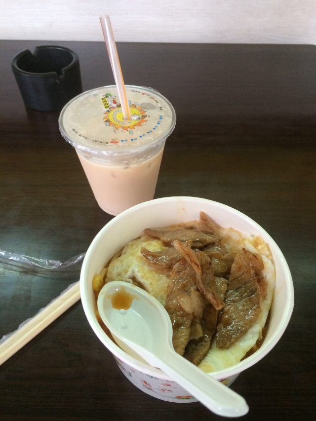 egg and beef noodles with more milk tea
