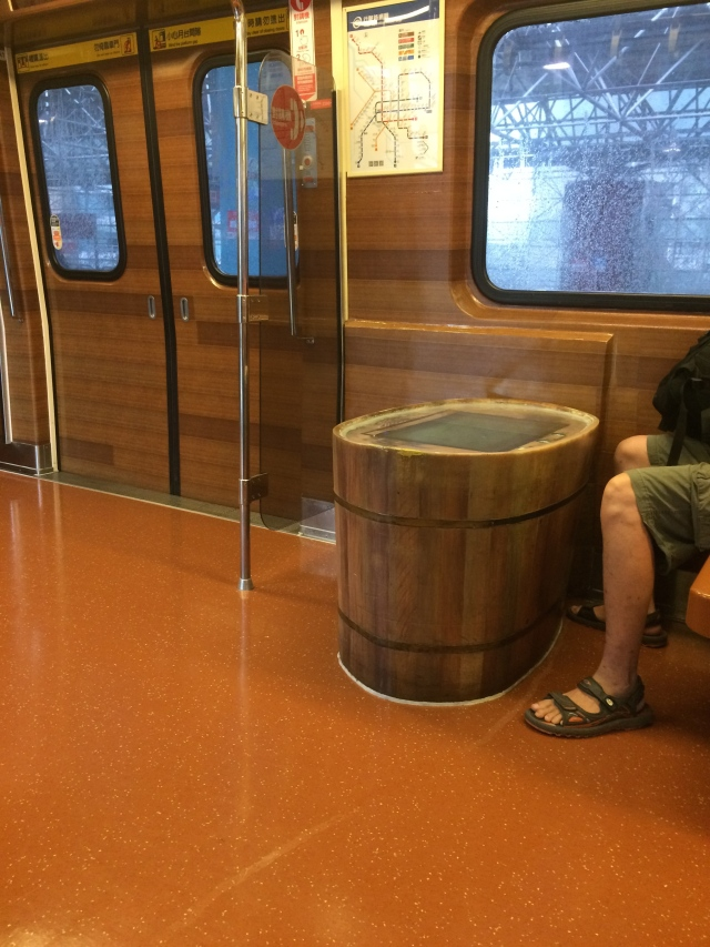 the train was designed to look like a hot spring bath house