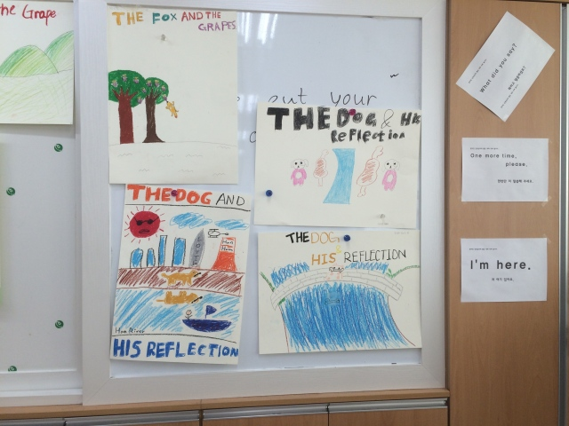 We read different fables and each student had to make a poster for their favorite fable