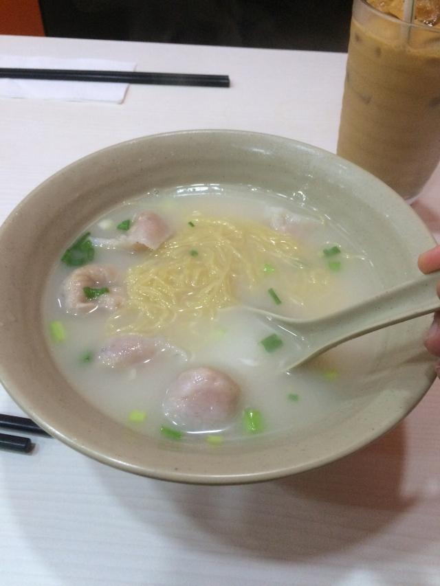 fish dumplings and noodles