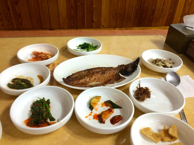 salted mackerel and plenty of side dishes