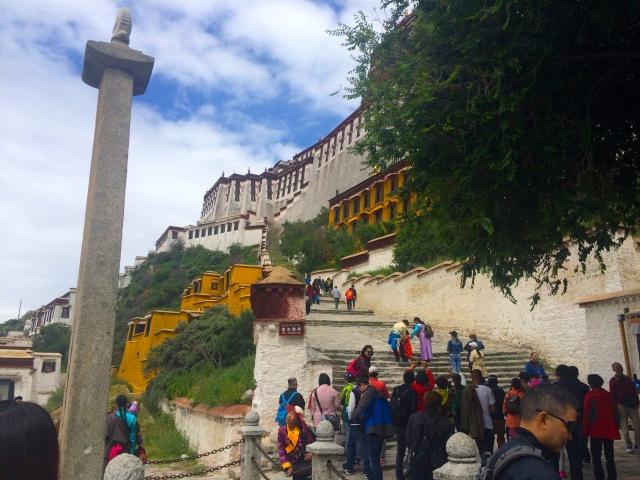 trekking up the stairs