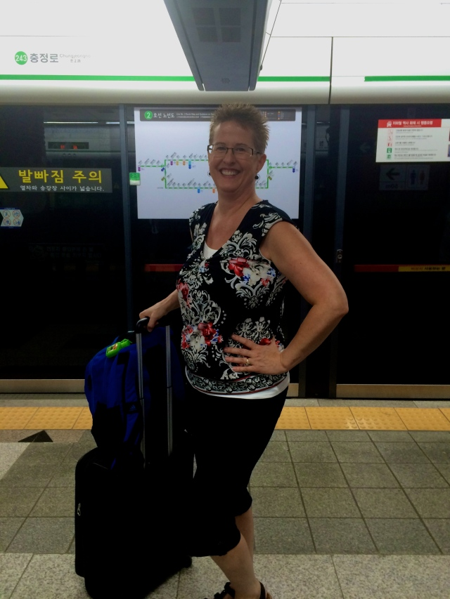 mom in the Seoul subway