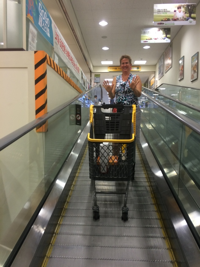 the wheels on the grocery cart stick to the escalator