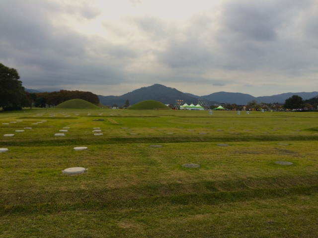 those grass mounds are ancient tombs