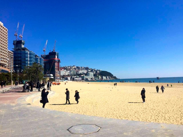 Haeundae beach during the winter-everyone is wearing coats